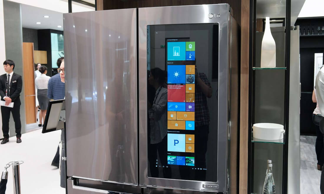 Image result for LG's new ThinQ smart fridge has a transparent 29-inch touchscreen