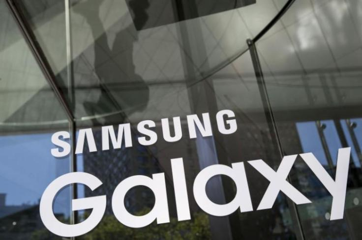 A Samsung Galaxy sign is seen at the Samsung Galaxy Unpacked 2015 event in New York
