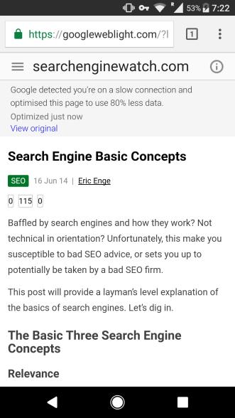 Website viewed in Lite Mode